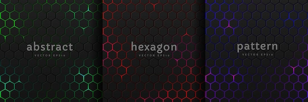 Set of black hexagon pattern on glowing red, blue, green neon abstract background in technology style. modern futuristic geometric shape collection vector design. can use for cover template, poster.