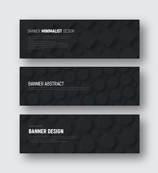 Set of black horizontal vector banners with rhombuses, hexagons and a circle hovering over the background.