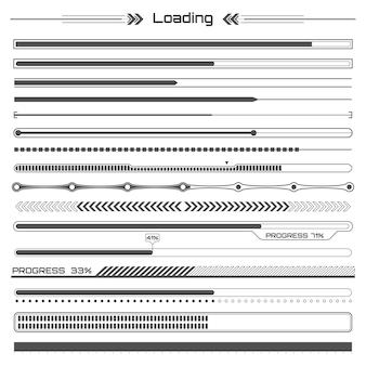 Set of black hud loading lines infographic elements.