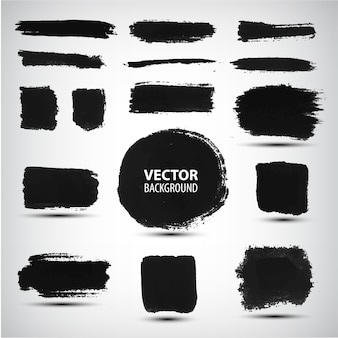 Set of black ink brush strokes