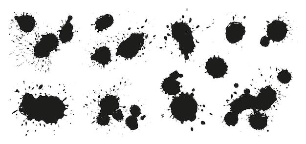 Set of black ink splatters