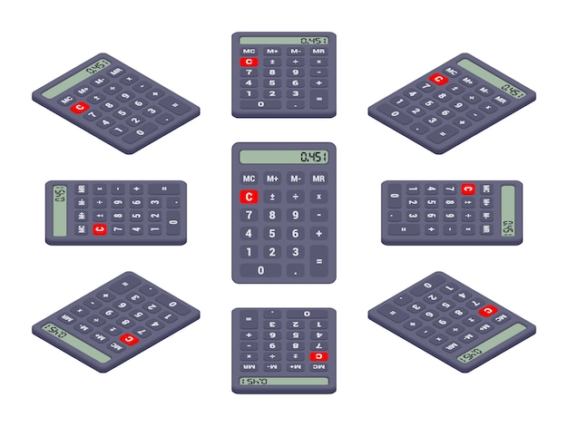 Set of the black isometric calculators. the objects are isolated against the white background and shown from different sides