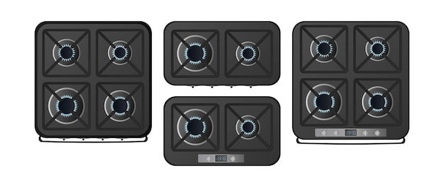 Set of black kitchen stoves with a top view. a gas stove is included. modern oven for the kitchen in a realistic style. isolated. vector.