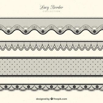 Set of black lace borders