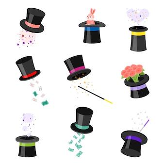 Set of black magic hats   illustration