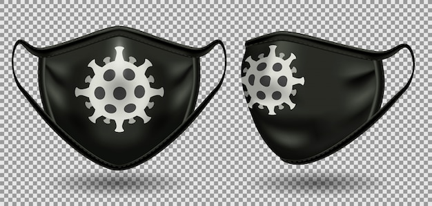 Set black mask with a symbol of coronavirus.