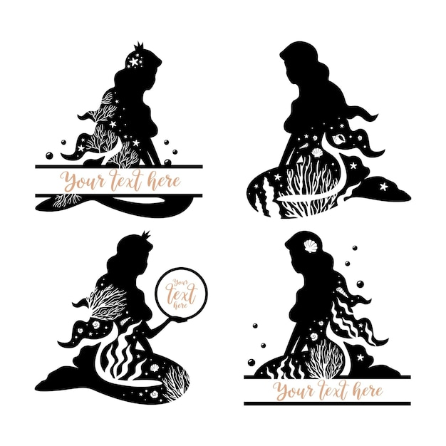 Set of black mermaids. silhouette collection.