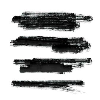 Set of black paint brush stroke vector background