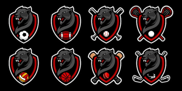 Set of  black panthers head mascot logo for sport team mascot logo.
