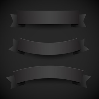 Set of black paper flags or ribbons