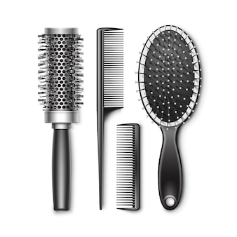 Set of black plastic grooming and hot curling radial pocket hair brush comb professional hairdresser tools top view isolated