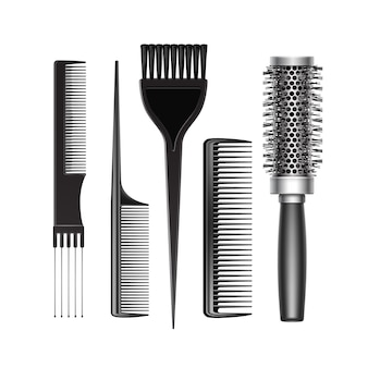 Set of black plastic grooming and hot curling radial pocket hair coloring brush comb professional hairdresser tools top view isolated