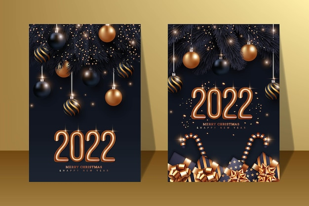 Set of black poster merry christmas and happy new year 2022 illustration