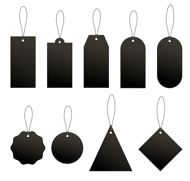 Set of black price or luggage tags of various shapes with rope.
