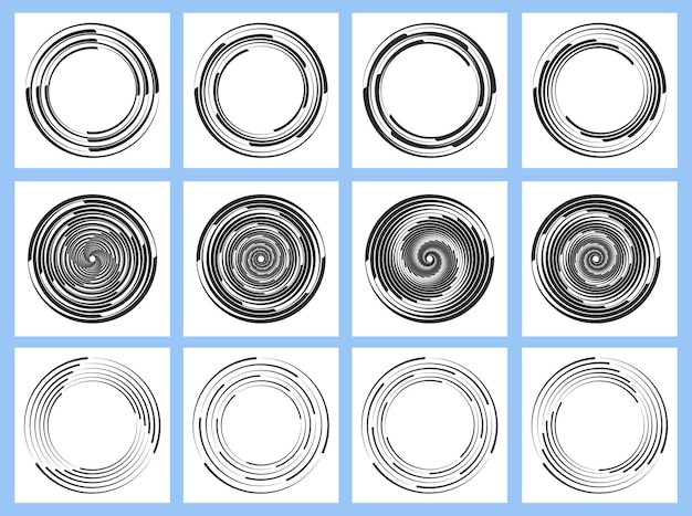 Set of black radial velocity lines from white dashed curves swirling halftone thin thick lines