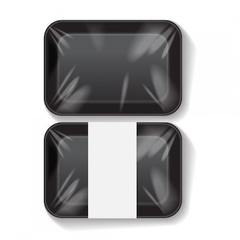 Set of black rectangle blank styrofoam plastic food tray container.   template