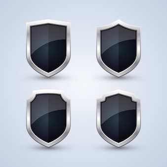 Set of black shields