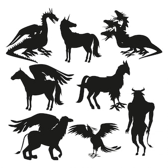 Set black silhouette animal greek mythological creatures