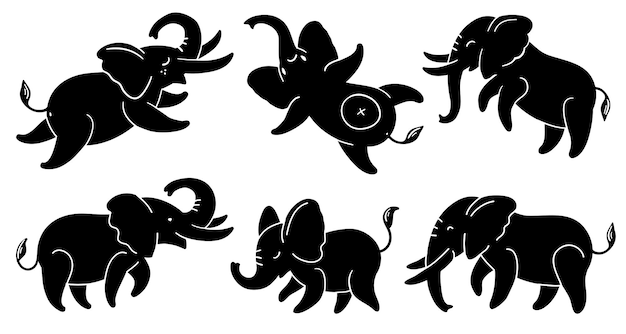 Set of black silhouettes of elephants cute cartoon elephants in different poses