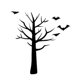 Set of black silhouettes for the holiday halloween bats fly over the tree