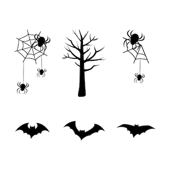 Set of black silhouettes for the holiday halloween spider web tree bats