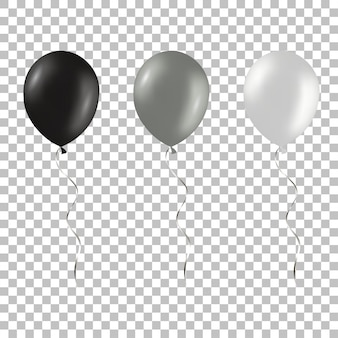 Set of black and silver helium balloons