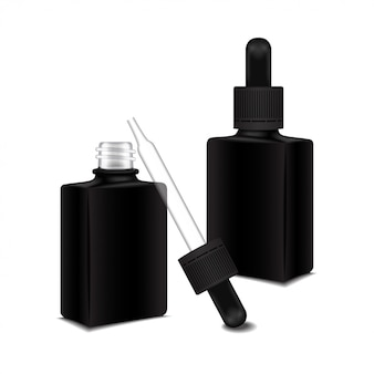 Set of black square closed and open bottle with a dropper cap for essential oil.  cosmetic bottle or medical bottle, flask, bottle  illustration