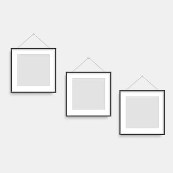 Set of black square photo frames