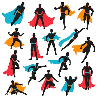 Set of black superhero silhouettes