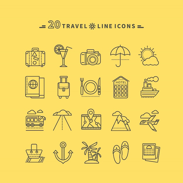 Set of black travel thin, lines, outline icons
