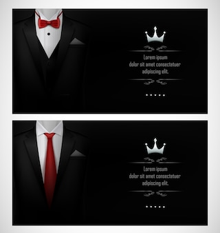 Set of black tuxedo business card templates