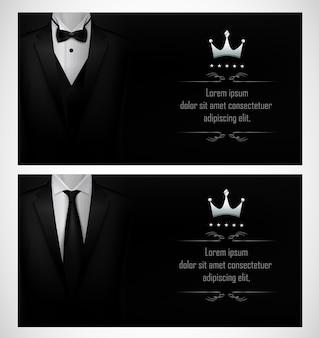Set of black tuxedo business card templates