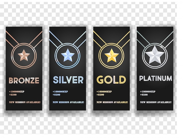 Set of black vector banners with gold