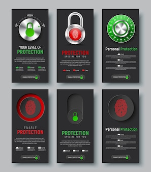 Set of black vertical web banners to protect information. vertical templates with padlock, button and switch with a fingerprint, mechanical combination lock and a level control of the cloud,