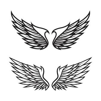 Set of black and white angel wings vector