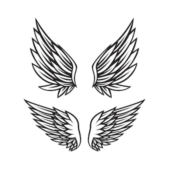 Set of black and white angel wings