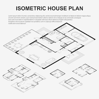 Set of black and white architectural plans