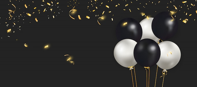 Set of black, white balloons with gold confetti.