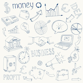 Set of black and white business and money infographic doodle sketch icons depicting  investment