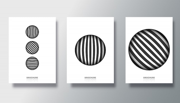 Set of black and white cards with striped circle design