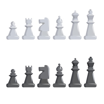 Set of black and white chess pieces.