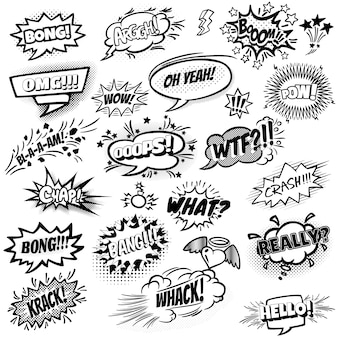 Set of black and white comic speech bubbles