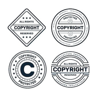 Set of black and white copyright stamps