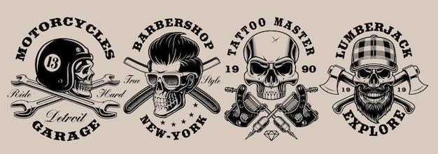 Set of black and white different skulls illustrations