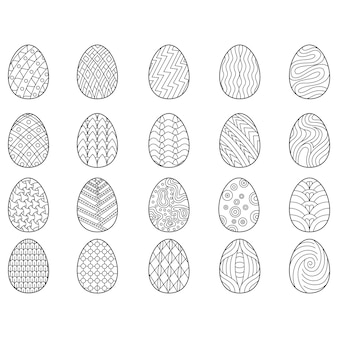 Set of black and white easter eggs