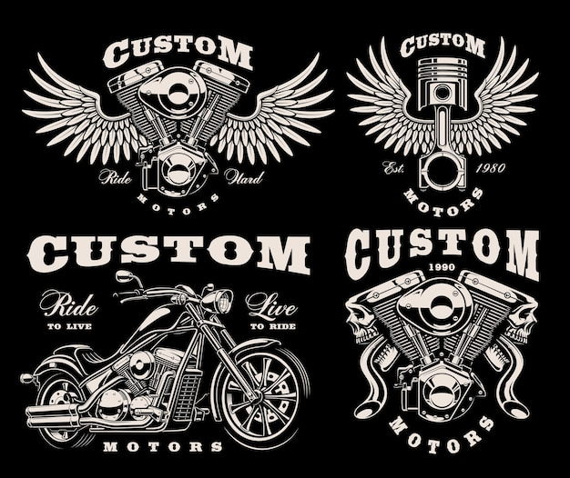 Set of black and white emblems for motorcycle theme on dark