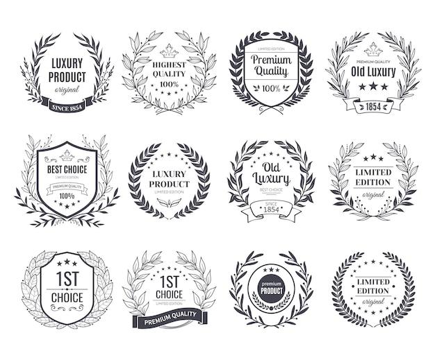 Set of black and white emblems