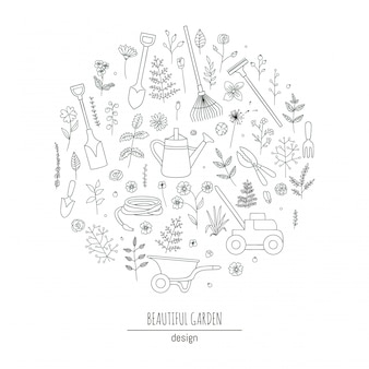Set of black and white garden tools, flowers, herbs, plants. collection of watering can, shears, lawn mower framed in circle. cartoon style illustration. gardening themed concept.