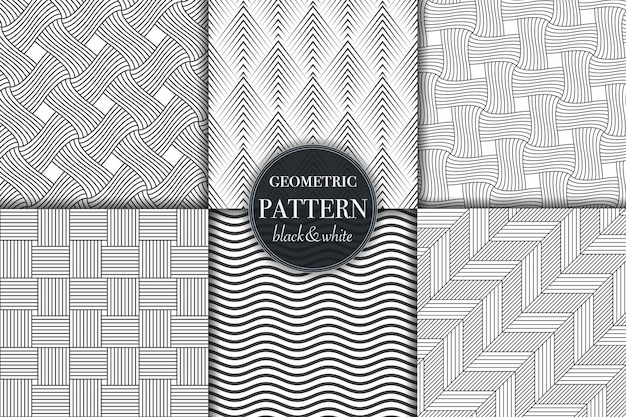 Set of black and white geometric and abstract line pattern