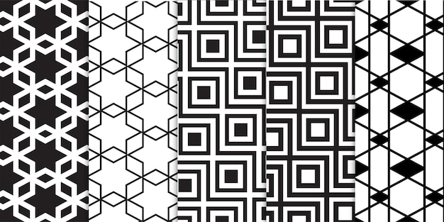 Set of black and white geometric and abstract lines shapes stripes patterns